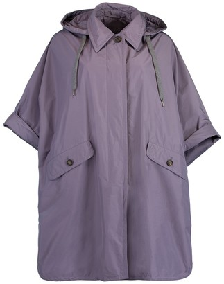 Brunello Cucinelli Eggplant Water Resistant Taffeta Hooded Poncho