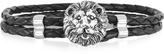 Forzieri Lion Stainless Steel and Leather Men's Bracelet