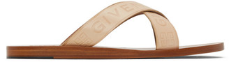 Givenchy Beige Logo Cross Sandals