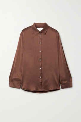 ASCENO Net Sustain London Washed-silk Pajama Shirt - Brown