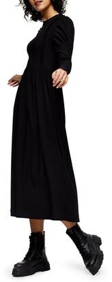 Topshop Textured Long Sleeve Midi Dress