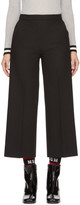 MSGM Black Wide-Leg Cropped Trousers