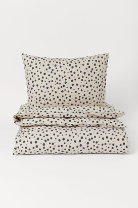 H&M Patterned Duvet Cover Set - Beige