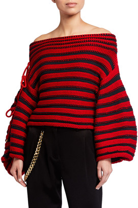 Hellessy Renata Off-the-Shoulder Striped Balloon-Sleeve Sweater