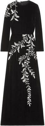Oscar de la Renta Crystal-embellished Velvet Gown