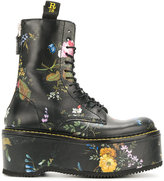 R 13 flower print stack boots