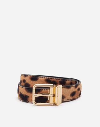 Dolce & Gabbana Leopard Print Belt In Pony-Style Calfskin