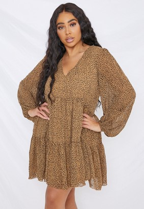 Missguided Plus Size Brown Leopard V Neck Smock Dress