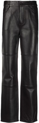 Ganni Straight-Leg Leather Trousers