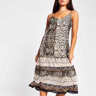 River Island Womens Brown animal print cami mid beach dress