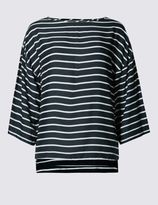 Marks and Spencer Striped 3/4 Sleeve Kimono Shell Top