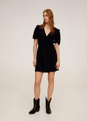 MANGO Short ruffled dress black - 2 - Women