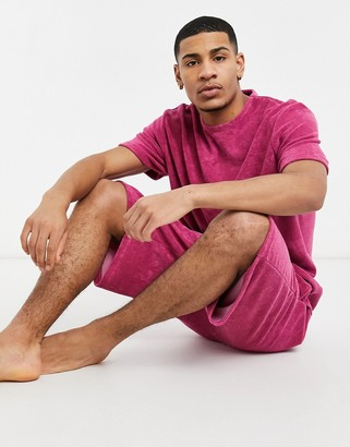 ASOS DESIGN lounge towelling oversized t-shirt and short set in warm pink