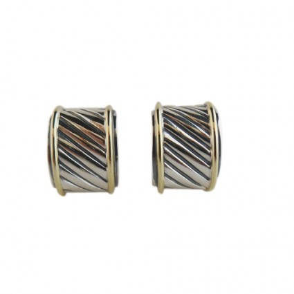 David Yurman excellent (EX Sterling Silver & 14K Thoroughbred Cable Cigar Band Earrings