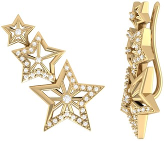 Lmj Starburst Ear Climbers In 14 Kt Yellow Gold Vermeil On Sterling Silver
