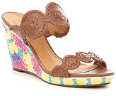 Jack Rogers Livvy Leather Floral-Embroidered Wedges
