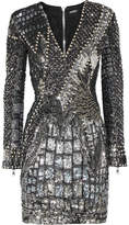 Balmain Embellished Tulle And Satin Dress - Silver