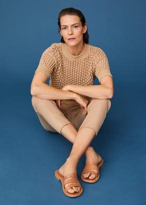 MANGO Leather strap sandals beige - 6 - Women