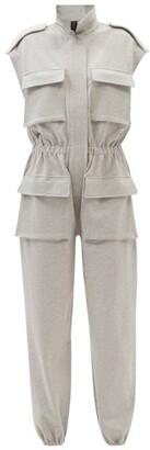 Norma Kamali Flap-pocket Cotton-blend Sleeveless Jumpsuit - Grey