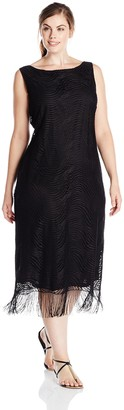 Tiana B Women's Plus-Size Sleeveless Fringe Crochet Lace Maxi and Tie at Waist