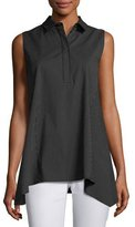Lafayette 148 New York Hollyn Sleeveless Sporty Spots Stretch-Cotton Blouse