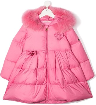 Miss Blumarine Faux Fur-Trimmed Padded Coat