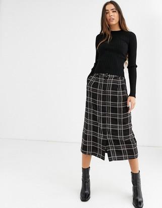 B.young check midi skirt