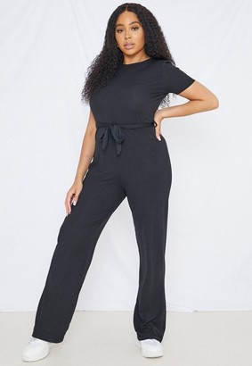 Missguided Size Black Rib Flared Playsuit
