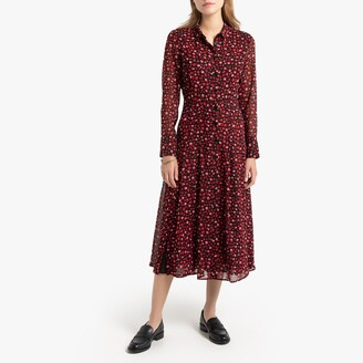 Animal Print Shirt Dress in Midi Length with Long Sleeves