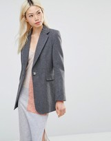 Helene Berman Longline Blazer in Charcoal with Green