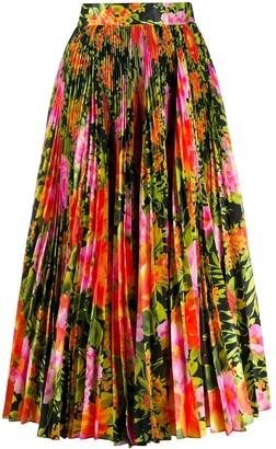 Richard Quinn Floral Print Pleated Skirt