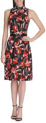 Tommy Hilfiger Floral-Print Belted Jersey Fit--Flare Dress