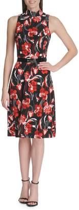 Tommy Hilfiger Floral-Print Belted Jersey Fit--Flare Dress