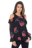 AX Paris Long Sleeve Black Cold Shoulder Floral Top