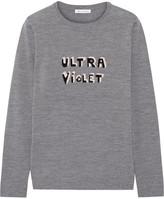 Bella Freud Ultra Violet Intarsia Merino Wool Sweater - Gray