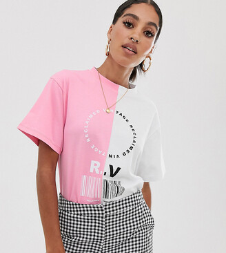 Reclaimed Vintage inspired spliced logo print t-shirt