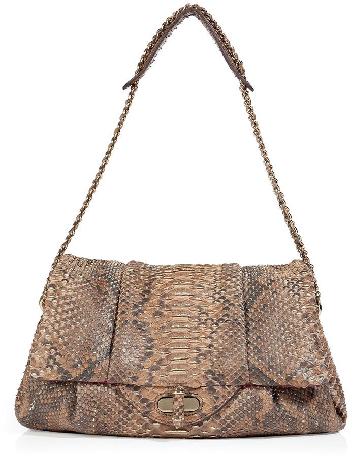 Zagliani Warm Taupe-Multi Python Giulia Shoulder Bag