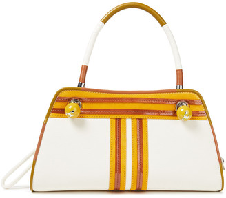 Tory Burch Contrast T Small Suede And Patent-trimmed Textured-leather Tote