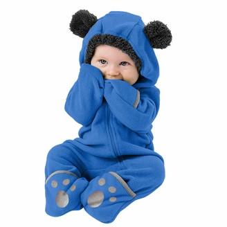 OSYARD Baby Girls Boys Romper Newborn Infant Cute Cartoon Snowsuit Warm Fleece Hooded Jumpsuit Bodysuits 0-24 Months