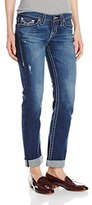 Big Star Women's Kate Straight Leg Jean with Rolled Cuffs Embellished Pockets In A Vintage Medium Blue Wash
