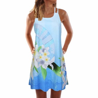 Your New Look Women Bohemia Patterned Mini Tank Dress Casual Floral Criss Cross Back A-line Mini Dress Fashion Boho Slip Dress for Daily Beach Vacation Blue