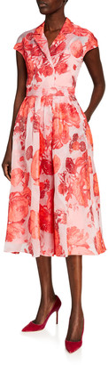 Lela Rose Oversized Rose Fil Coupe Cap-Sleeve Full Skirt Dress