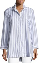 Lafayette 148 New York Marla Basilica Striped Placket-Front Blouse