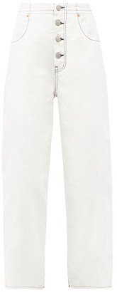 MM6 MAISON MARGIELA Exposed-button Straight-leg Jeans - White