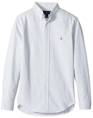 Polo Ralph Lauren Kids Striped Cotton Oxford Shirt (Big Kids) (Light Blue Stripe) Boy's Long Sleeve Button Up
