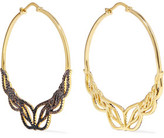 Noir Glowing Hoop Gold-Tone Crystal Hoop Earrings