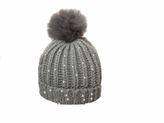 Sterling Smart Ladies Womens Winter Ribbed Sequin Beanie SKI HAT Detachable Faux Fur Bobble POM POM 99618 (Grey)