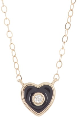 Ron Hami 14K Yellow Gold Diamond & Enamel Heart Pendant Necklace