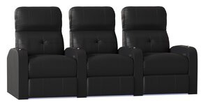 Latitude Run Home Theater Theater Sofa (Row of 4 Reclining Type: Manual, Body Fabric: Ultra Black