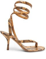 Wrap around Snake effect Leather Sandals Womens Light Tan